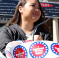 Student tabling with vote stickers