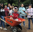Volunteers with wheelbarrow and rakes in park