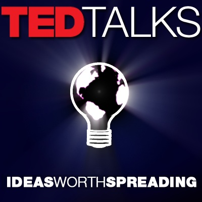 Image of Ted Talks logo, lightbulb that has earth image within it, with tagline