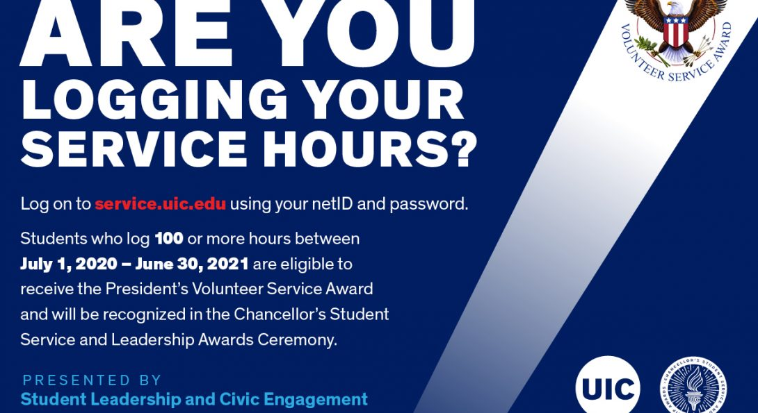 Are you logging your service hours? Students who log 100 or more hours between July 1, 2020 and June 30, 2021 are eligible to receive the President's Volunteer Service Award.