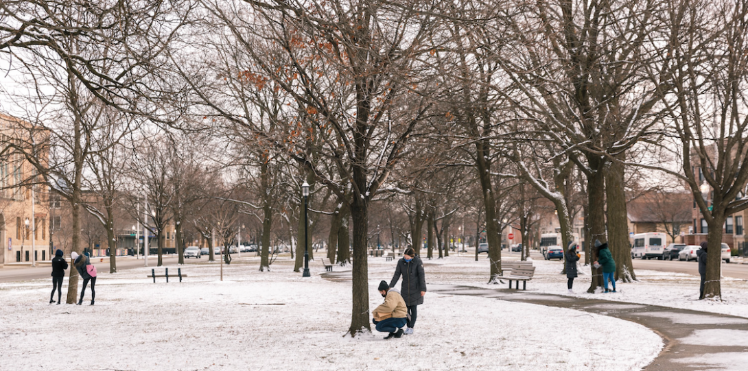Winter background on UIC East Campus.