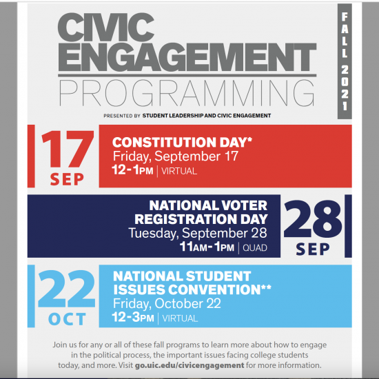 Civic Engagement Programming events and dates on flier with red and blue coloring (same details as shared in text of this section)